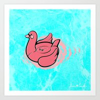 Swan Pool Float Art Print