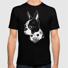 Dog - Tattooed BostonTerrier Mens Fitted Tee Black SMALL