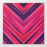 Modern Red / Black Stripe Abstract Stream Lines Texture Design (Symmetric edition) Canvas Print