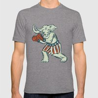 Republican Elephant Boxer Mascot Isolated Etching Mens Fitted Tee Tri-Grey SMALL