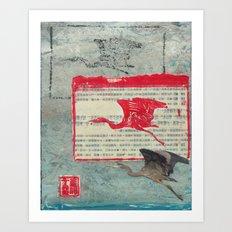 Blue Heron Collage Art Print