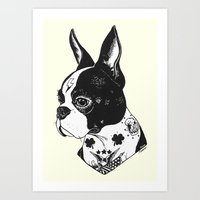 Dog - Tattooed BostonTerrier Art Print