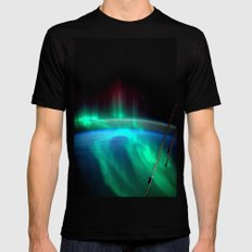 Aurora Borealis Over Earth Mens Fitted Tee Black SMALL
