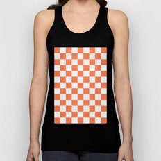 Checker (Coral/White) Unisex Tank Top