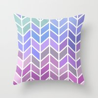 blue & purple chevron Throw Pillow