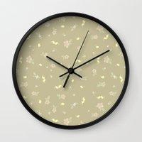 Floral On Tan Wall Clock