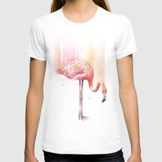 Pink Flamingo Watercolor | Facing Right Womens Fitted Tee White SMALL