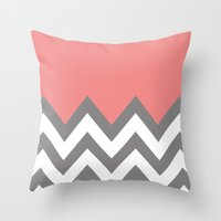 CORAL COLORBLOCK CHEVRON Throw Pillow