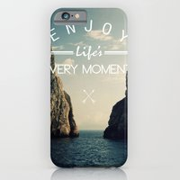 iPhone Cases featuring enjoy life every momens by mark ashkenazi