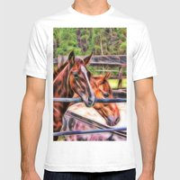 Horses And Gate Mens Fitted Tee White SMALL