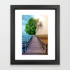 a comparison of two worlds Framed Art Print