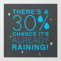 There's a 30% chance that it's already raining.- Quote from the movie Mean Girls Canvas Print
