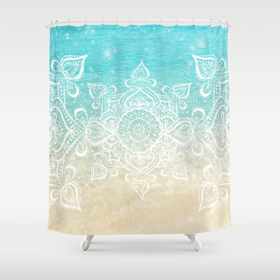 beach mandala shower curtain by jenndalyn society6. Black Bedroom Furniture Sets. Home Design Ideas