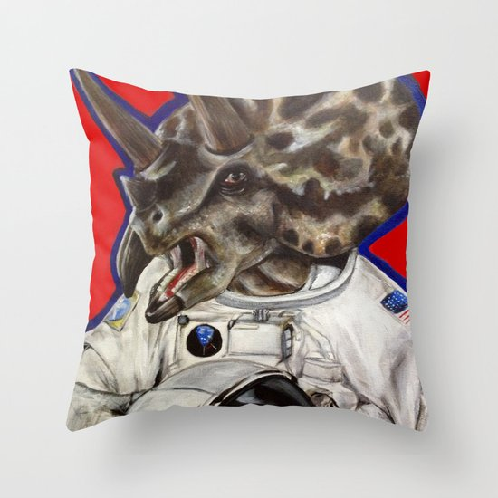 Prehistoric Astronaut Throw Pillow