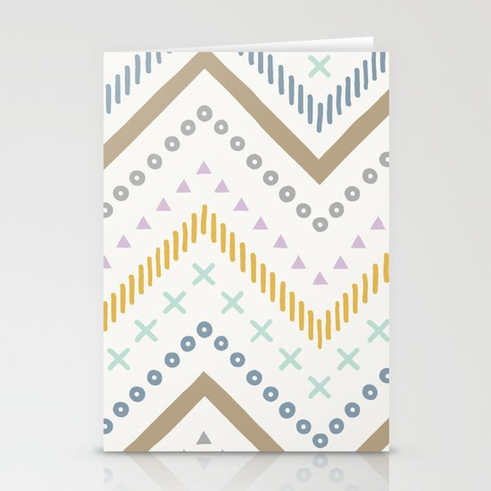 Mixed Zig Zag - in Cream Stationery Card