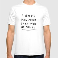 INDIE MUSIC Mens Fitted Tee White SMALL