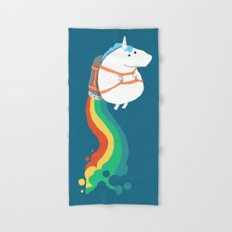 Fat Unicorn on Rainbow Jetpack Hand & Bath Towel