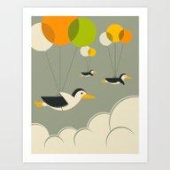 Flock Of Penguins Art Print