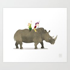 Wild Adventure - Rhino Art Print