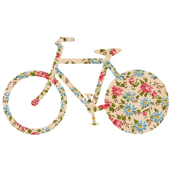 Whimsical cute girly floral retro bicycle Art Print
