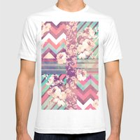 Retro Pink Turquoise Flo… Mens Fitted Tee White SMALL