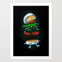 The Astronaut Burger Art Print