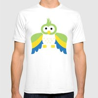 Minimal Parrot Mens Fitted Tee White SMALL