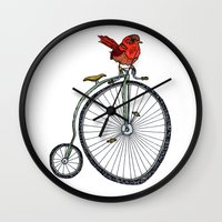 bird on a bicycle. Wall Clock