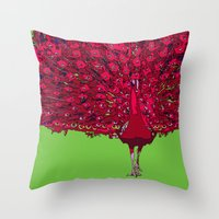 Peacock - Red Throw Pillow