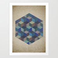 Dimension In Blue Art Print