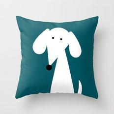 White Dachshund - Turquoise  Throw Pillow