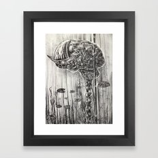 Helmet of Resolution - Black and white lithograph Framed Art Print