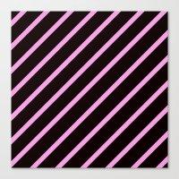 Pink & Black Stripes Canvas Print