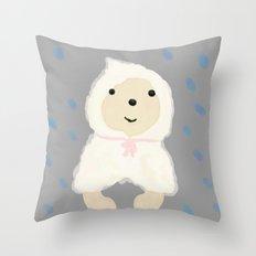 Alternative rain wear(Retriever wears a plastic bag in the rain) Throw Pillow