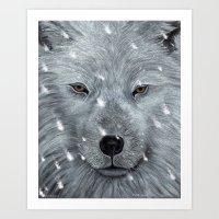 The Amber Eyed Wolf Art Print