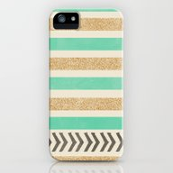 MINT AND GOLD STRIPES AN… iPhone (5, 5s) Slim Case