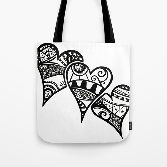 Three Hearts Tote Bag