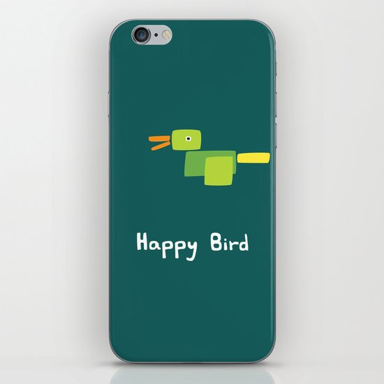 Happy Bird-Green iPhone & iPod Skin