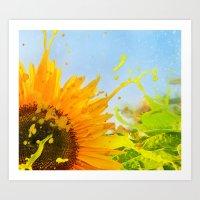 Splashing Sunflower Art Print