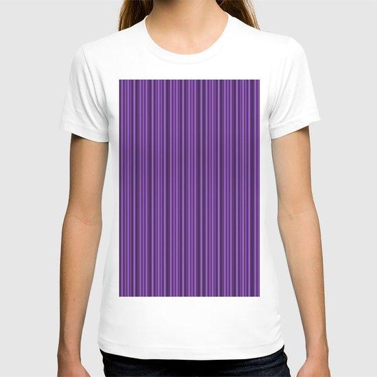 Purple Double Stripes Pattern T-shirt
