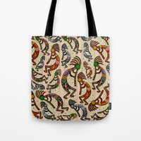 Kokopelli Rainbow Colors on Tribal Pattern  Tote Bag