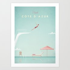 Vintage Côte D'Azur Tra… Art Print