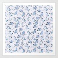 Grey Foxes Art Print