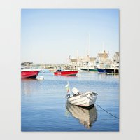 Boats Reflecting in Harbor in Nantucket Canvas Print