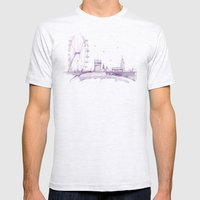 Watercolor Landscape Ill… Mens Fitted Tee Ash Grey SMALL