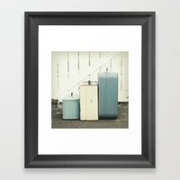 At The Gate In Blue Framed Art Print
