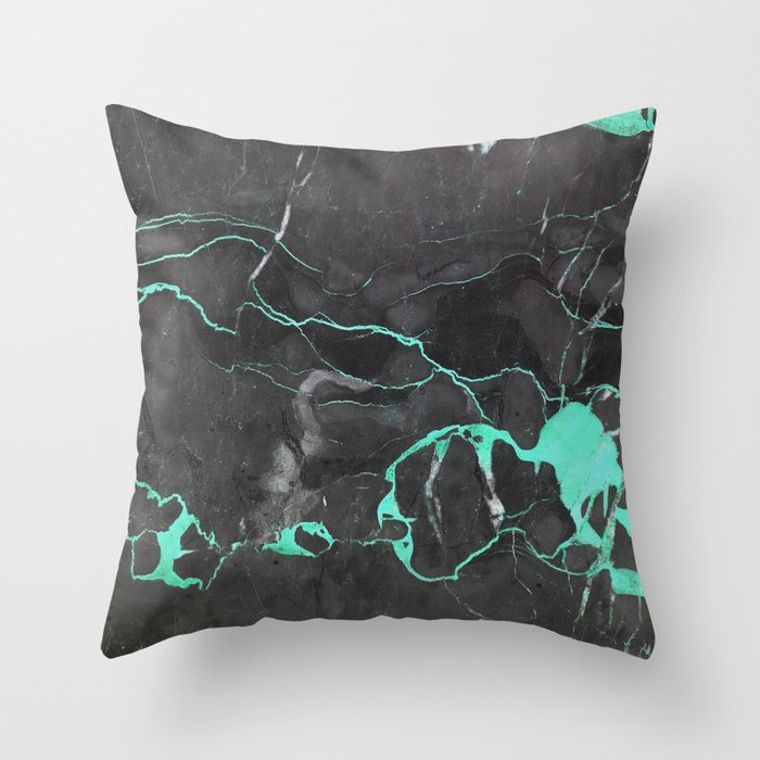 Grey and Blue Marble Throw Pillow by Cafelab Society6