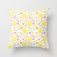 Watercolor floral pattern with doily Throw Pillow