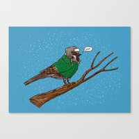 Annoyed IL Birds: The Sparrow Canvas Print
