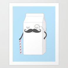 Sir Milk Moustache Art Print